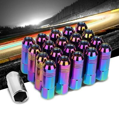 Neo Chrome Aluminum M12x1.50 60MM Hexagon Open Acorn Tuner 20x Conical Lug Nuts
