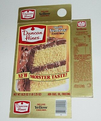 1984 Duncan Hines Yellow Cake Mix Box