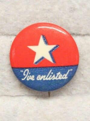 "WWII era Home Front ""I've Enlisted"" Button Pin"