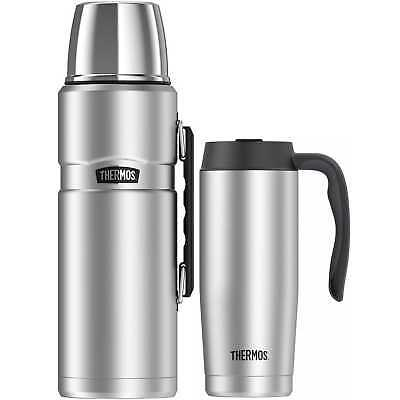 Thermos Insulated 68 Oz Stainless King Beverage Bottle w/ 16 Oz Travel Mug