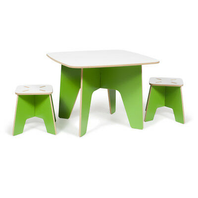 Kids Table and 2 Stool Set, Green - KT2S001-GRN_WHT