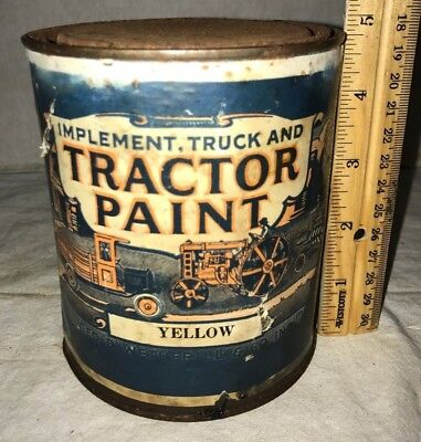 Antique Tractor Paint Yellow Implement Truck Farm Tin Can Wetherill Philadelphia