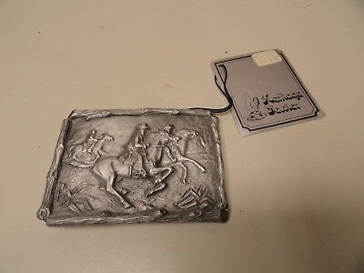 Heritage Pewter Western Belt Buckle Cowboys on Horses NWT