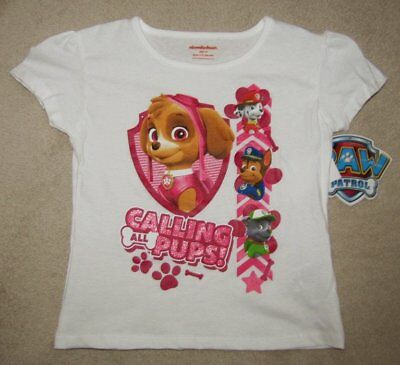 PAW PATROL *Calling All Pups!* S/S White Tee T-Shirt Toddler Girls sz 4T