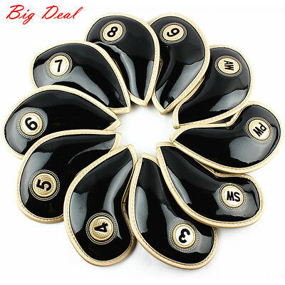 10X Glossy Pu Leather Golf Club Iron Headcovers Covers Wedges Club Protect Black