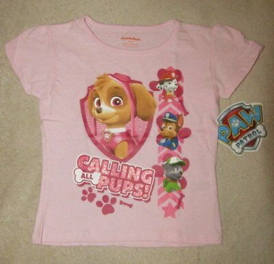 PAW PATROL *Calling All Pups!* Pnk S/S Tee T-Shirt Toddler Girls sz 4T