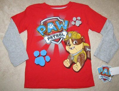 PAW PATROL *Rubble* Red/Gray L/S Tee Shirt Toddler sz 4T