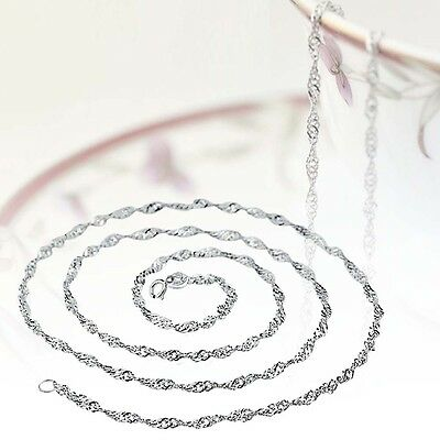 NEW Fashionable Pure Solid 925 Sterling Silver Singapore Rope Chain Necklace #M