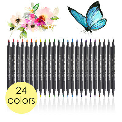 STA 24-Color Dual Head Watercolor Drawing Painting Sketch Brush Marker Pen TH775