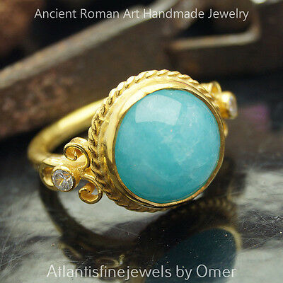 Beautiful Blue Chalcedony Sterling Silver Ring Ancient Art 24k Gold Vermeil