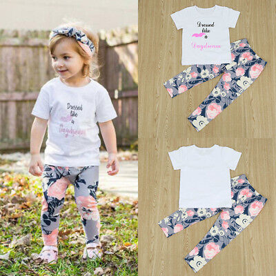 Toddler Kids Baby Girls Summer Outfit Clothes T-shirt Tops+Floral Pants 2PCS Set