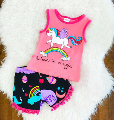 Summer Toddler Kids Baby Girls Unicorn Tops T-shirt Shorts Outfits Clothes Set