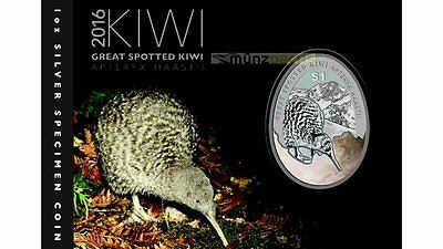 1$ Dollar Great Spotted Kiwi New Zealand 2016 1 oz Ounce Silver Blister