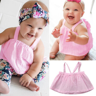 Fashion Infant Newborn Baby Girls Sleeveless T-shirt Tops Blouse Shirts Clothes