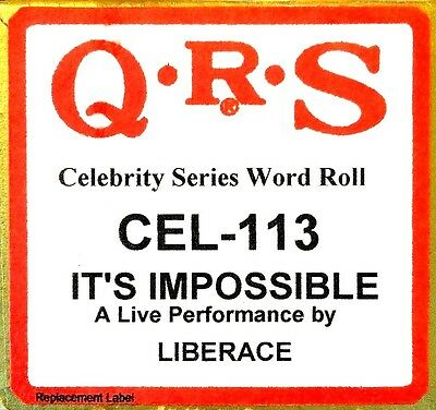 QRS Celebrity IT'S IMPOSSIBLE Liberace Live Perf. CEL-113 Player Piano Roll