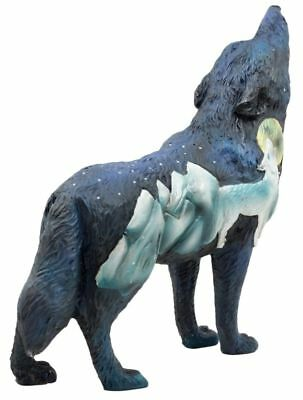 "6.25""L Ble Howling Wolf Starry Mountain Totem Spirit Figurine Statue"