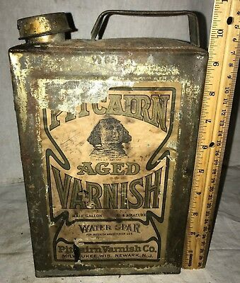 Antique Pitcairn Varnish Tin Sphinx Graphic Paint Can Milwaukee Wi Newark Nj Old