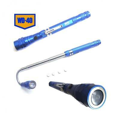 WD40 5L Pen Telescopic 3 LED Magnetic Torch Light Aluminium Knurl & Pocket Clip