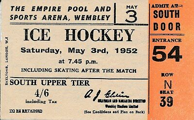 ICE HOCKEY TICKET: Wembley Arenal 3rd May 1952