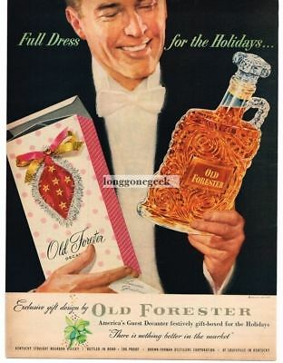 "1953 Old Forester Bourbon Whiskey Vtg. Print Ad ""Full Dress For The Holidays"""