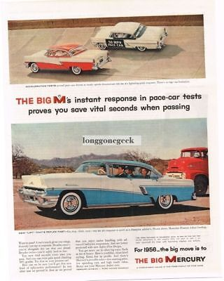 1956 Mercury Montclair Phaeton Blue 4-Door HT Vtg Print Ad