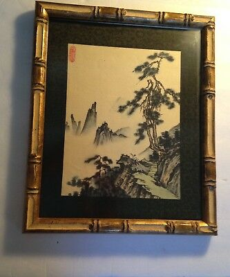 A Chinese Ink Wash Landscape Painting On Silk.