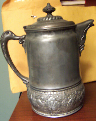"""Wilcox Silverplate 12"""" Water Pitcher ceramic liner 1878 uncleaned good condition"""