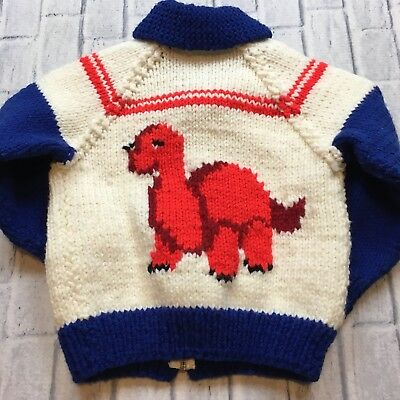 50s 60s VTG COWICHAN Sweater DINOSAUR Cardigan TALON Zipper Hand Knit 2T Toddler