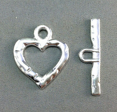 Hammered Heart Valentines Silver Plated Toggle Lead and Nickel Safe Q10 66405
