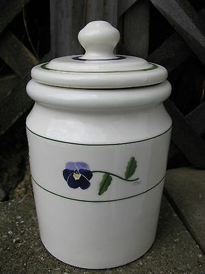 Hartstone Pottery Med 3 Lb Canister Cookie Jar Purple Pansy Flowers