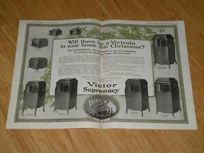 Vintage Magazine Ad - 1918 - Victor Victrola's - (two-pages)