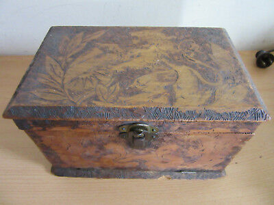 Antique Art Nouveau wooden Tramp Art carved wooden Lap Desk box with Lions