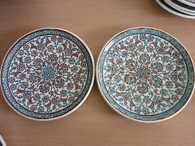 2 Vintage/Antique Azim Kutahya Turkish Ottoman empire hand painted wall plate 10