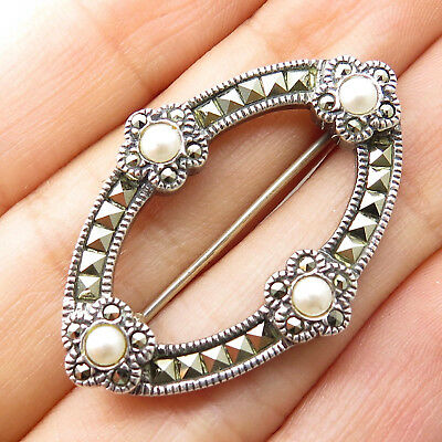 Fine Jewelry Jewelry & Watches Independent Vtg Signed 925 Silver Real Marcasite Gem Pearl Imitation Floral Pin Brooch Sale Price