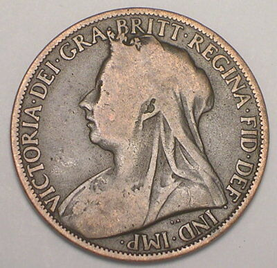 1899 UK Great Britain British One 1 Penny Queen Victoria Coin F+