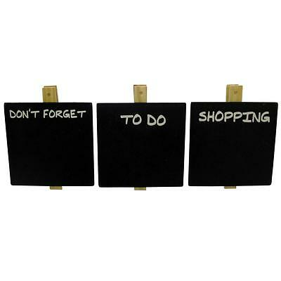 Mini Chalk Board Memo Pegs Set of 3 To Do Don't Forget Shopping Lists Chalkboard
