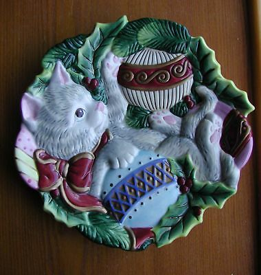 """Fitz & Floyd Christmas China 9"""" Kitten In Tree Canapes Plate"""