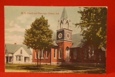 Antique c1910 Postcard Methodist Church and Parsonage, Orleans, Indiana