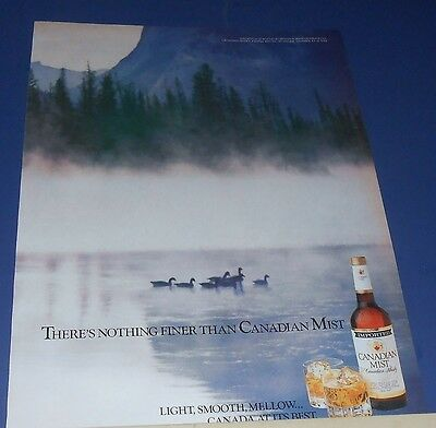 1989 CANADIAN MIST Whisky Ad ducks on a lake