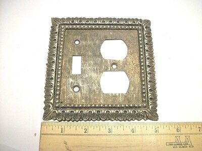 Vtg. Brass Metal Ornate Toggle Light Switch Plate Wall Cover