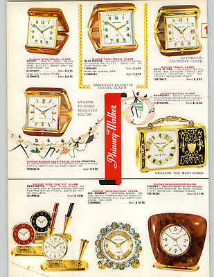 1962 PAPER AD 2 PG Phinney Walker Travel Alarm Clock Rhinestone Crown Jewel