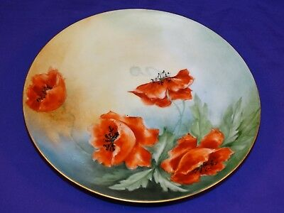 Vintage Hand Painted Jaeger & Co China Plate W/ Poppies & Gold Trim Signed 1909