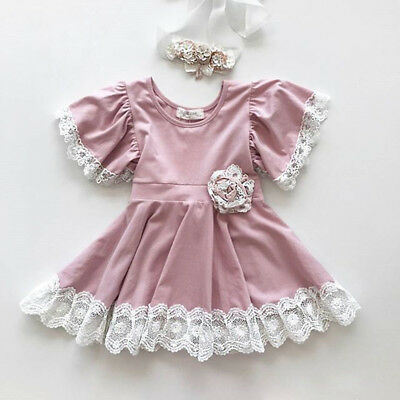 Vintage Princess Kids Baby Girls Dress Lace Floral Party Dress Easter Dresses AU