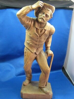 Antique Hand Carved old Man walking Sculpture 16 inches tall 4.5 x 5.5 block