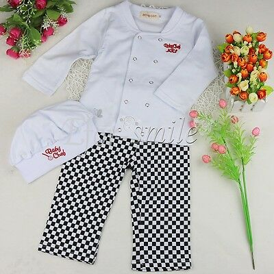 3pcs/Set Baby Cook Chef Outfits Boys Girls Costume Hat Pants Shirt Clothes Photo