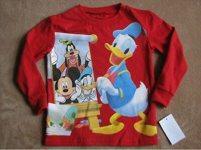 MICKEY MOUSE CLUBHOUSE w/ Donald Red L/S Tee Shirt Toddler sz 4T