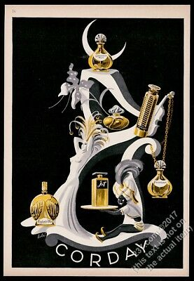 1943 Corday Possession TOurjois Moi Jet Tzigane etc perfume art vintage print ad