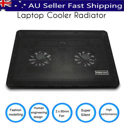 """Noiseless 2Fans Cooling Stand Pad 2 USB Port Cooler Fits MAX 17"""" Laptop Notebook"""