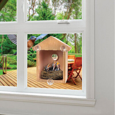 Window Mount Bird Nest Nesting View Box Wood See Through Finch Wren Birdhouse