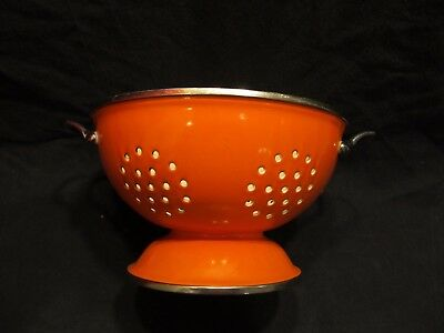 "Vintage Orange & White Porcelain Enamel Metal Colander Strainer 9"" Diameter"